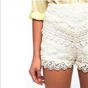 Kimchi Blue Hi Rise Lace Crochet Shorts